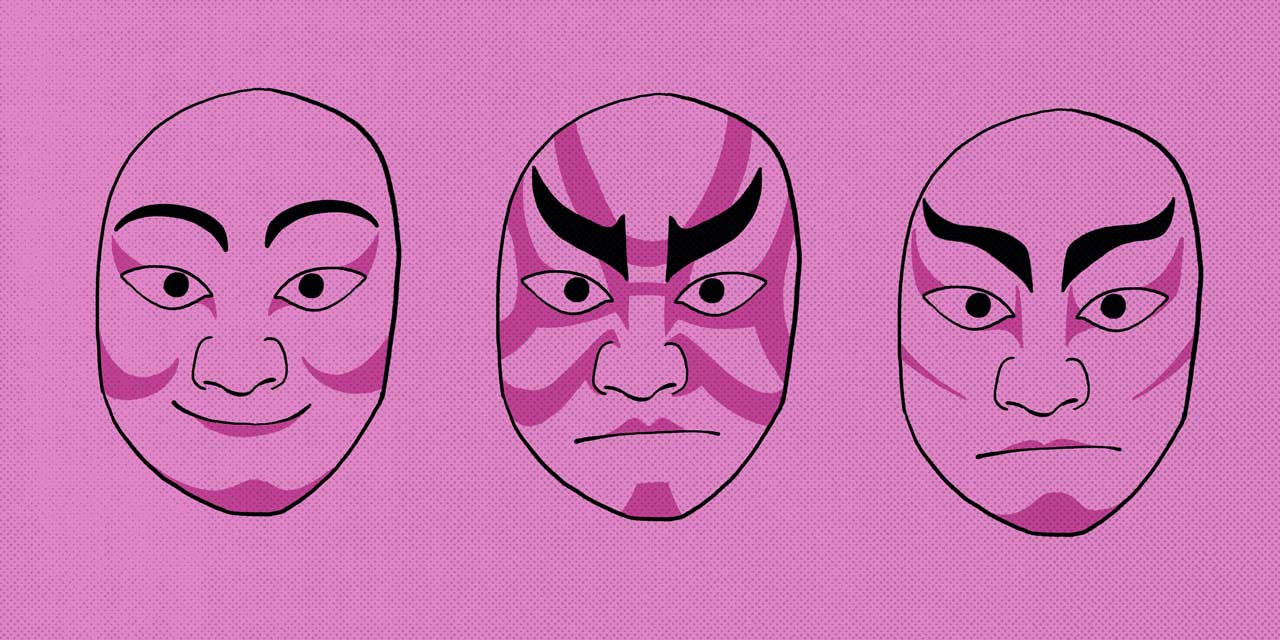 three faces of kabuki actors