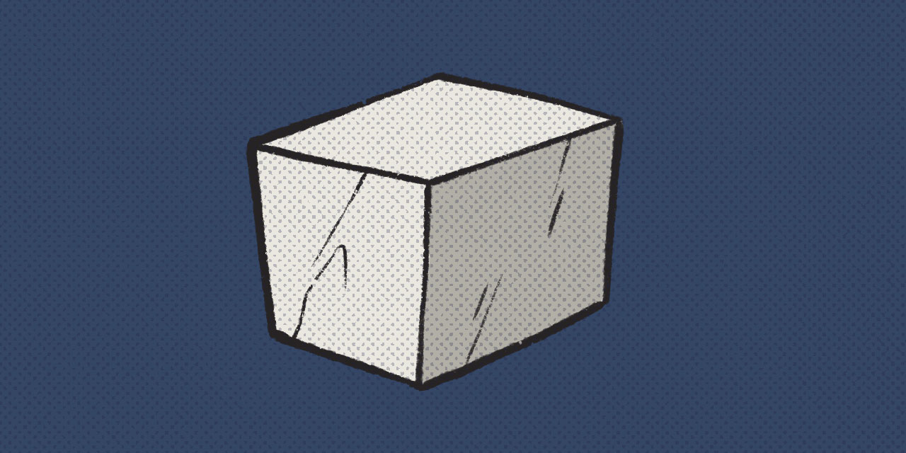 shaded cube on blue background