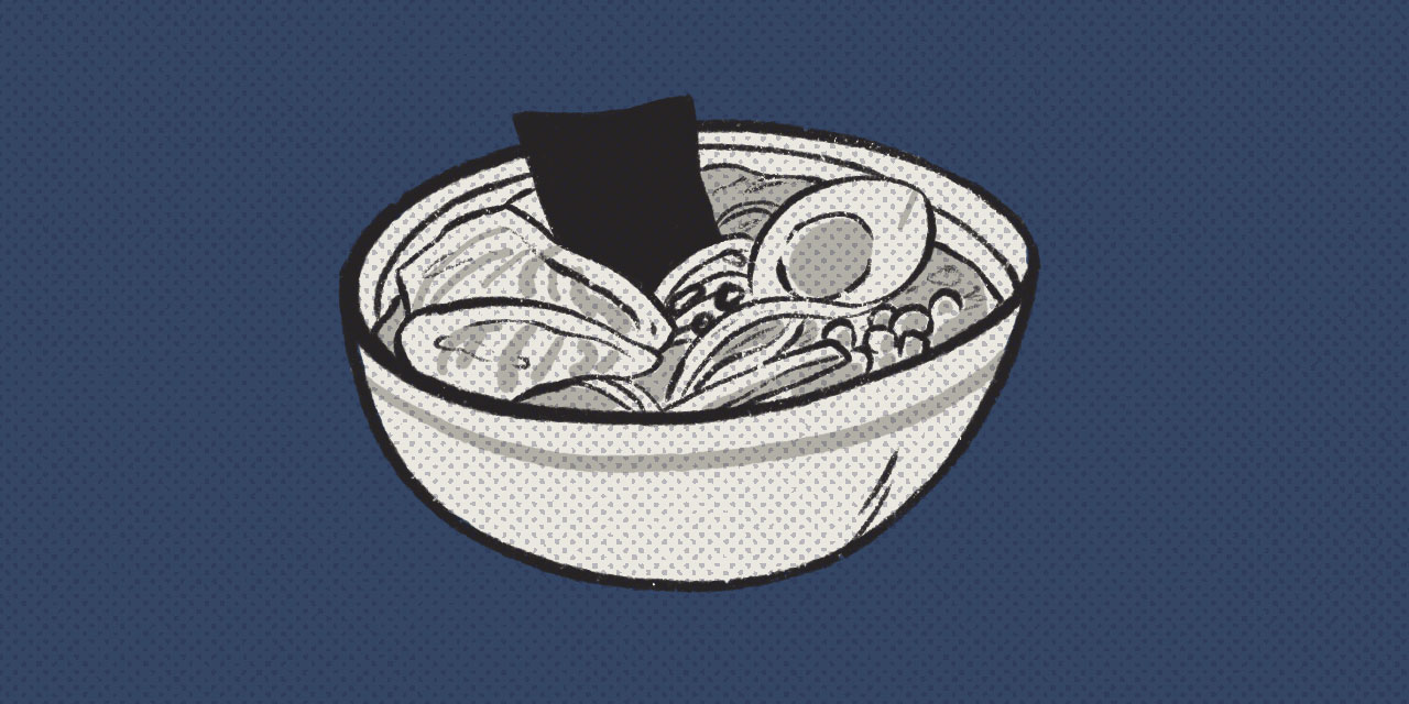 bowl of ramen on blue background