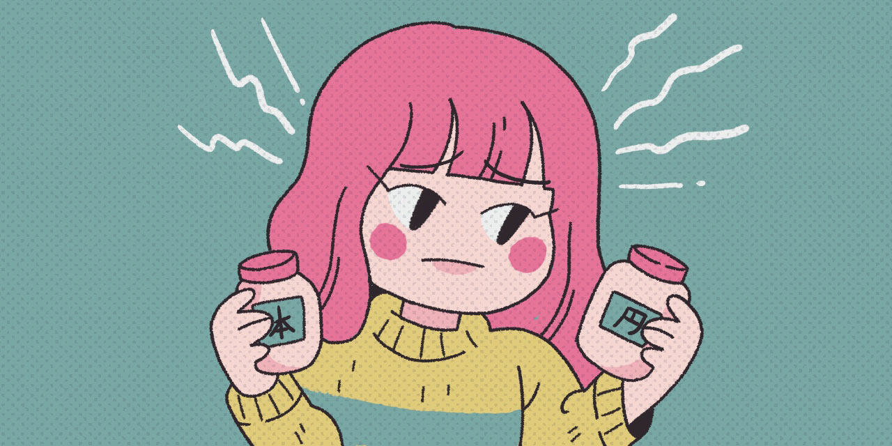 pink haired girl choosing between two jars of japanese counters