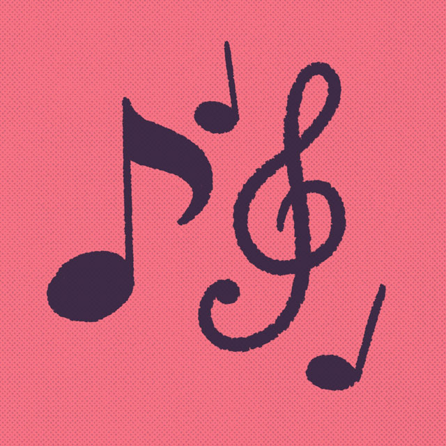 musical notes on a red background