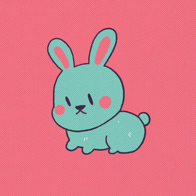 blue rabbit with red ears