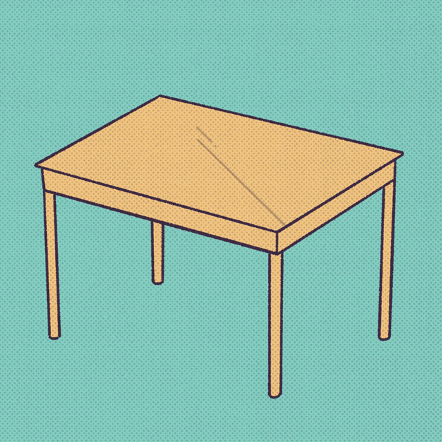 yellow table on teal background