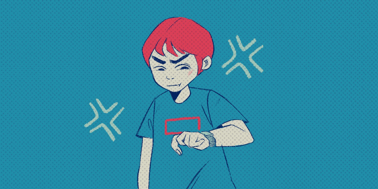 man with red hair looking impatiently at watch
