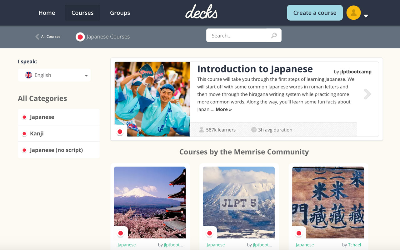 japanese language home for memrise decks