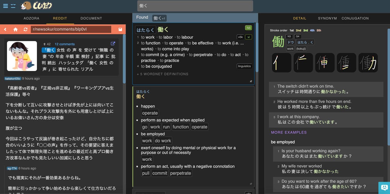 screenshot of japanese dictionary jishonari