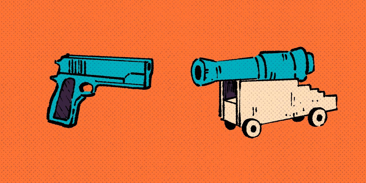 handgun and cannon facing each other