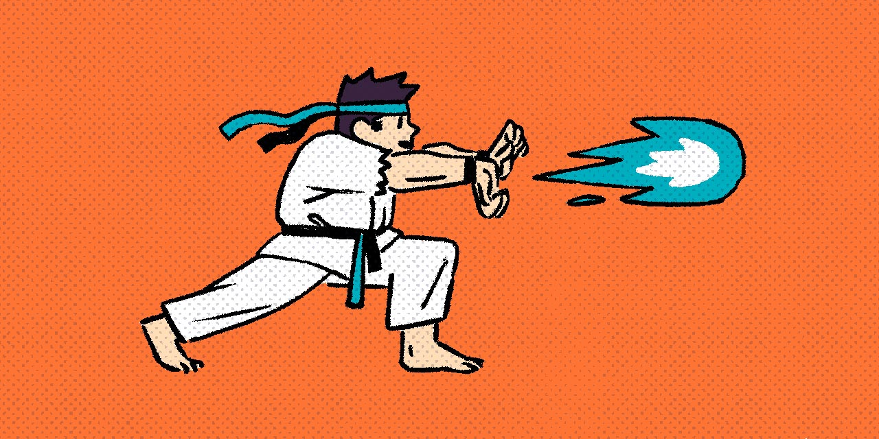 street fighter character in karate gi throwing hadouken