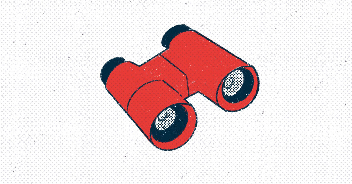 a pair of red binoculars