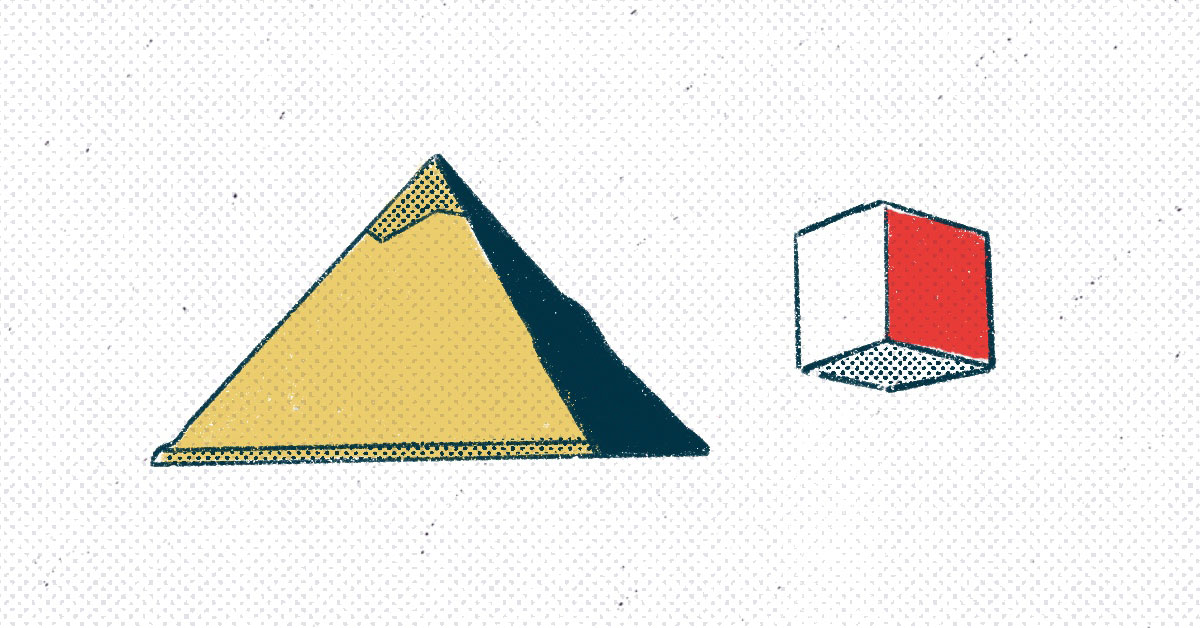 a pyramid and a cube