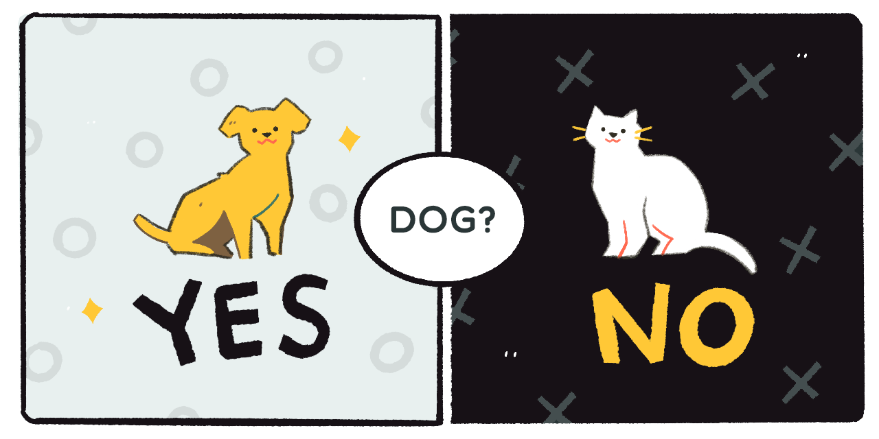 a dog saying yes and a cat saying no