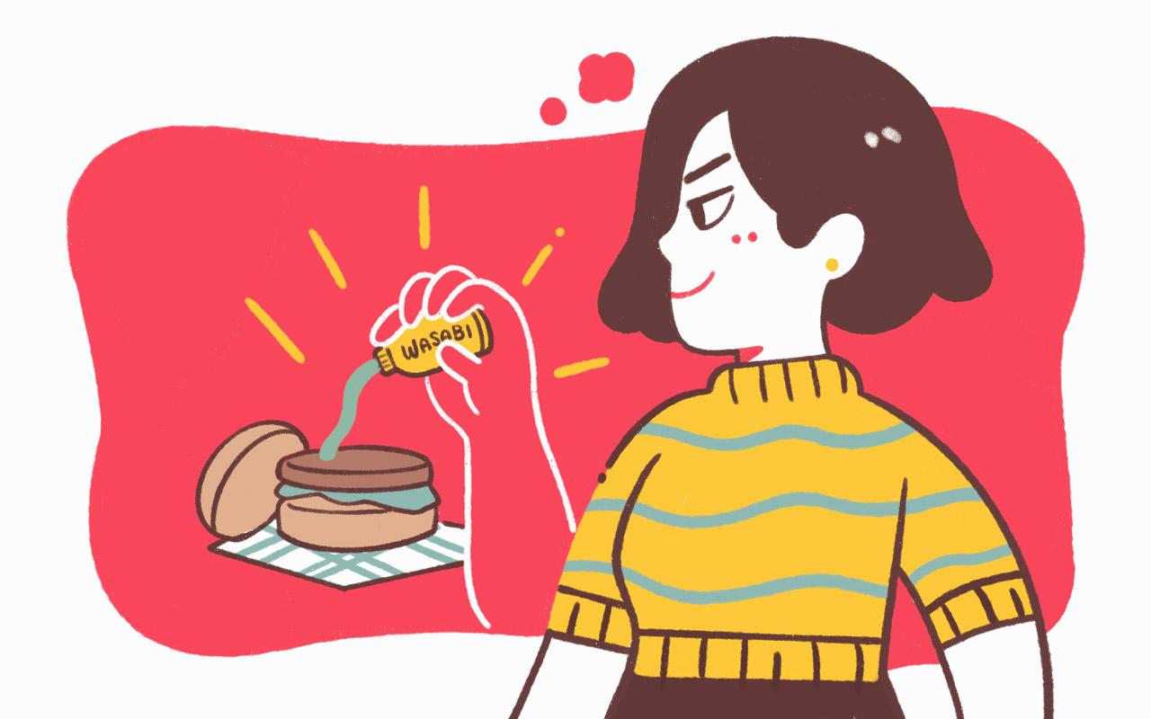 考える synonym: a girl is thinking about putting wasabi on her friend's burger