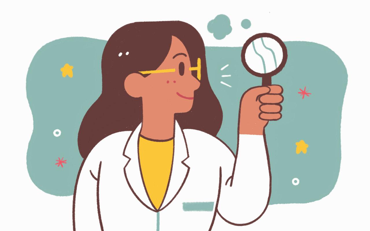 考える synonym: a scientist is examining the cause of something