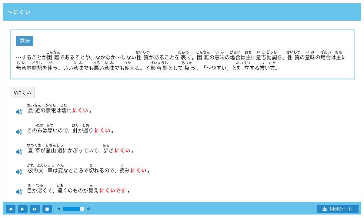 grammar explanation of 〜にくい