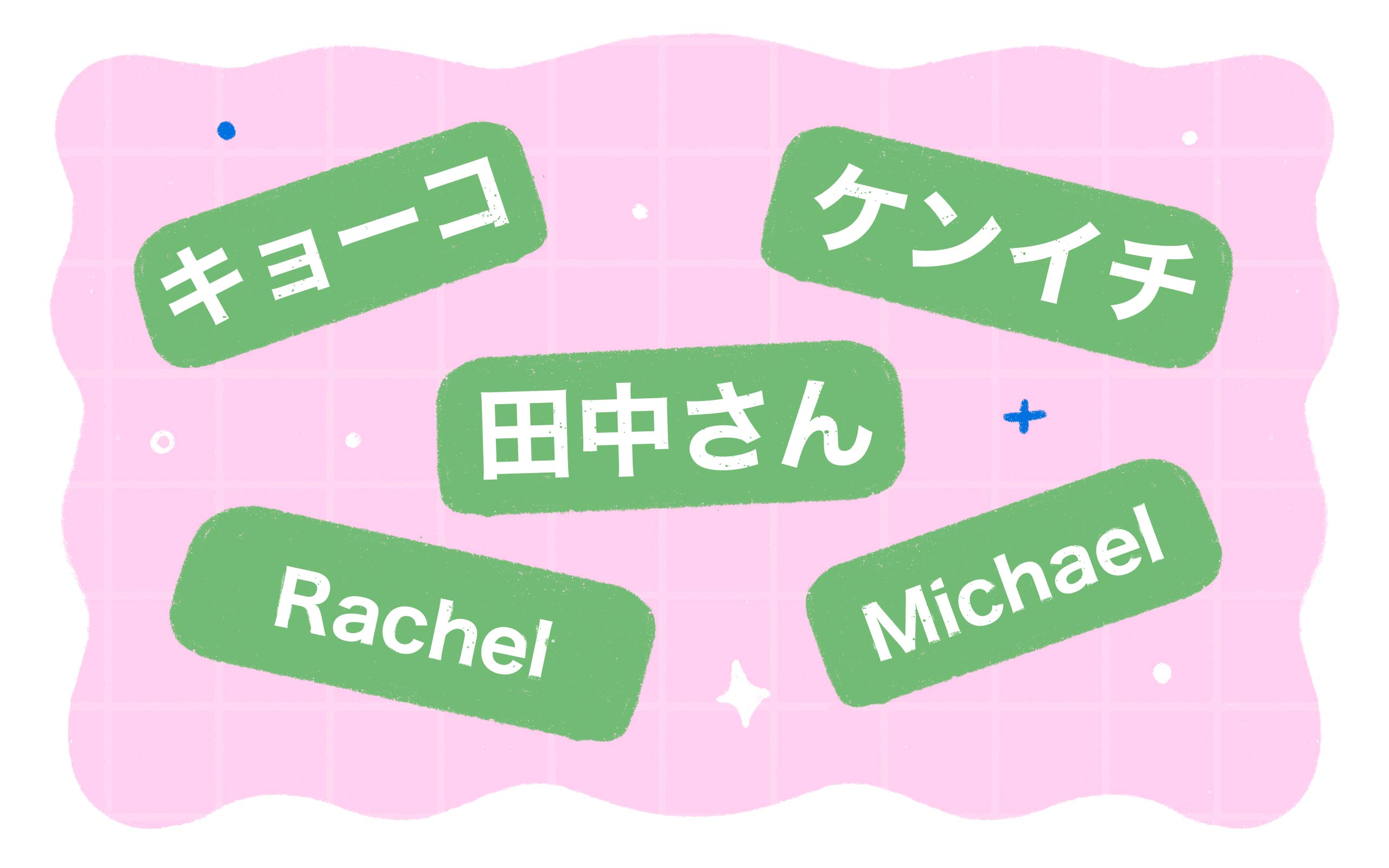 examples of names such as キョーコ, ケンイチ, 田中さん, Rachel and Michael