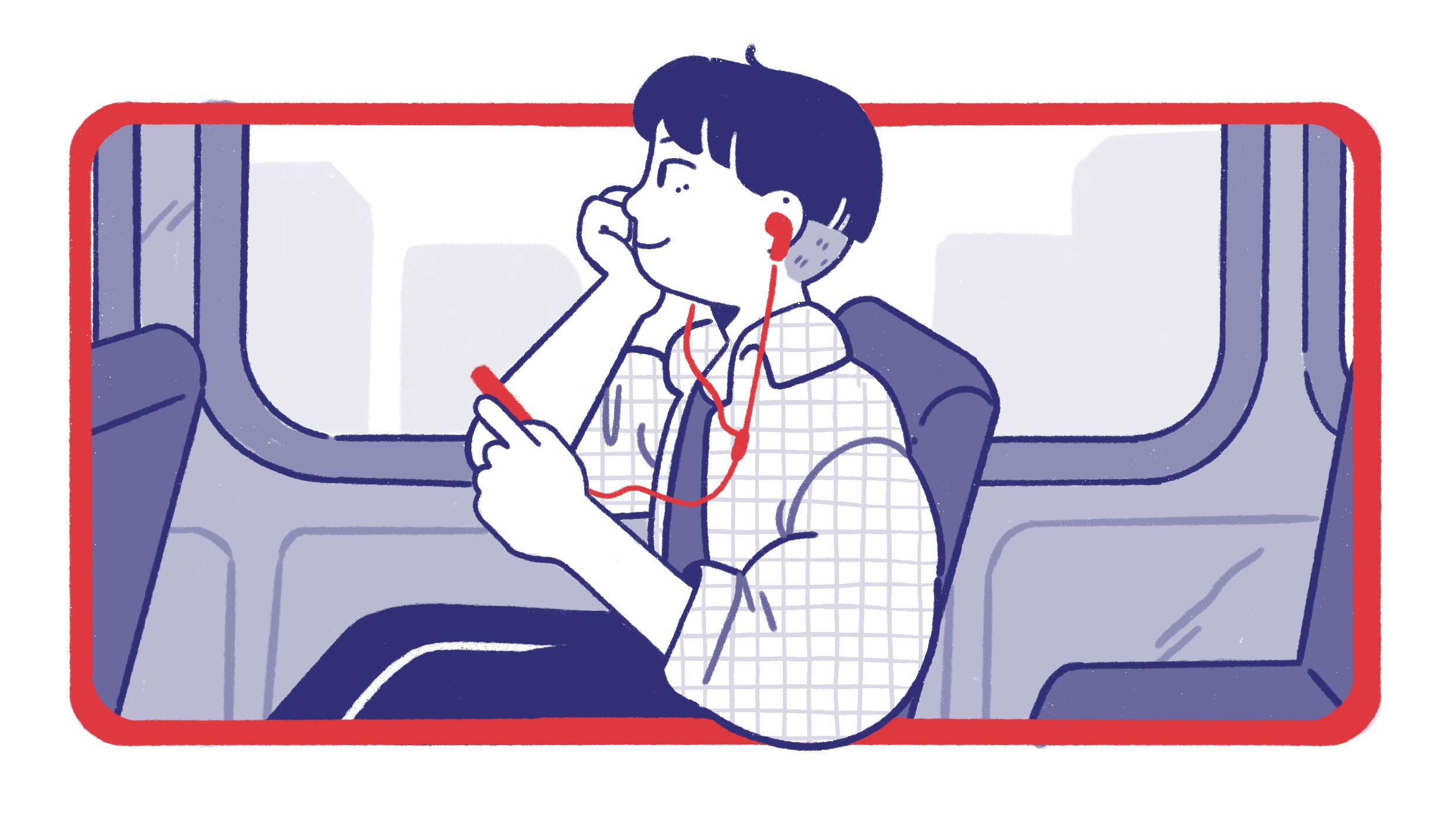 a person who is listening to a podcast on a bus