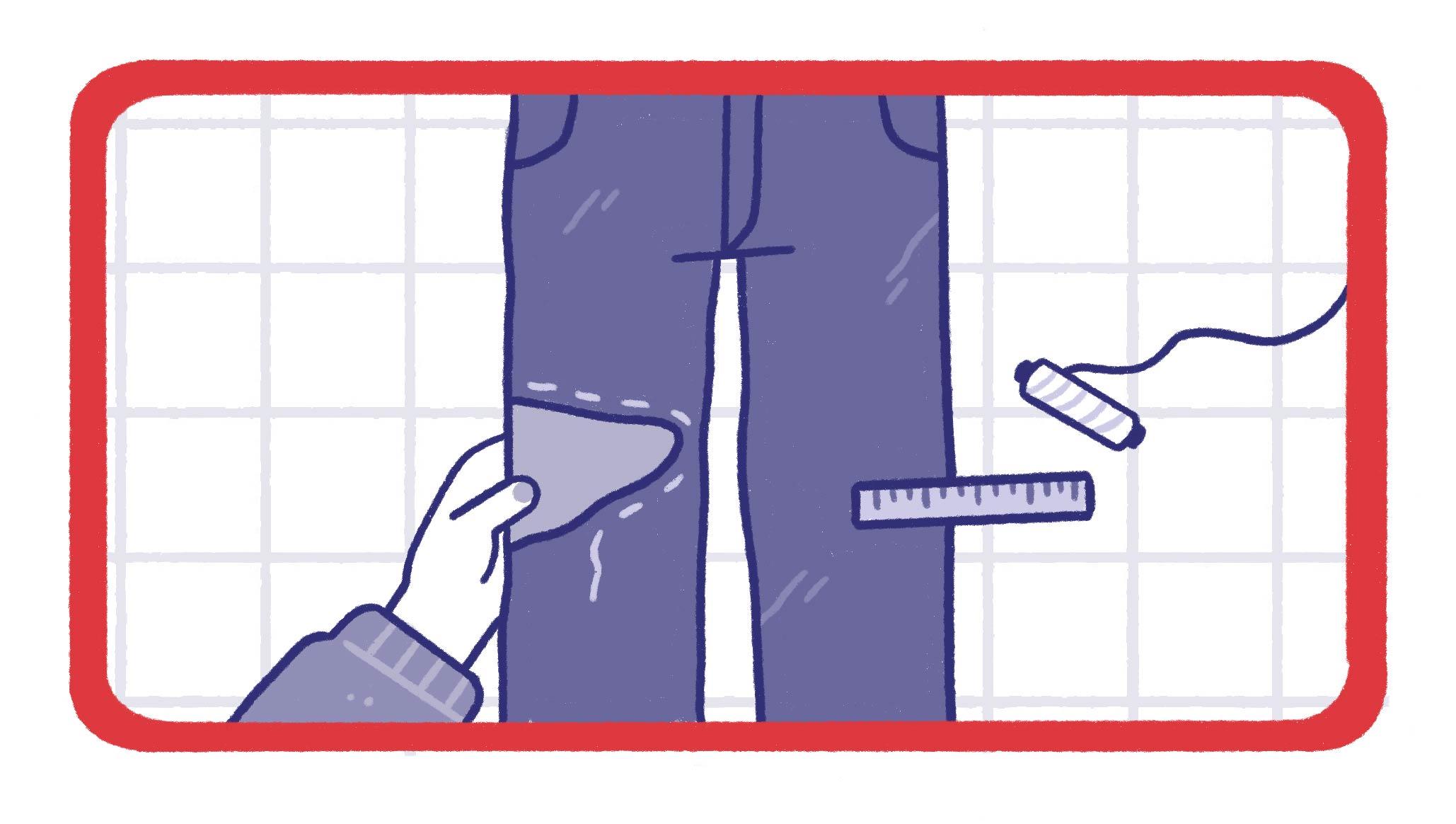 a pair of jeans with sashiko stitches