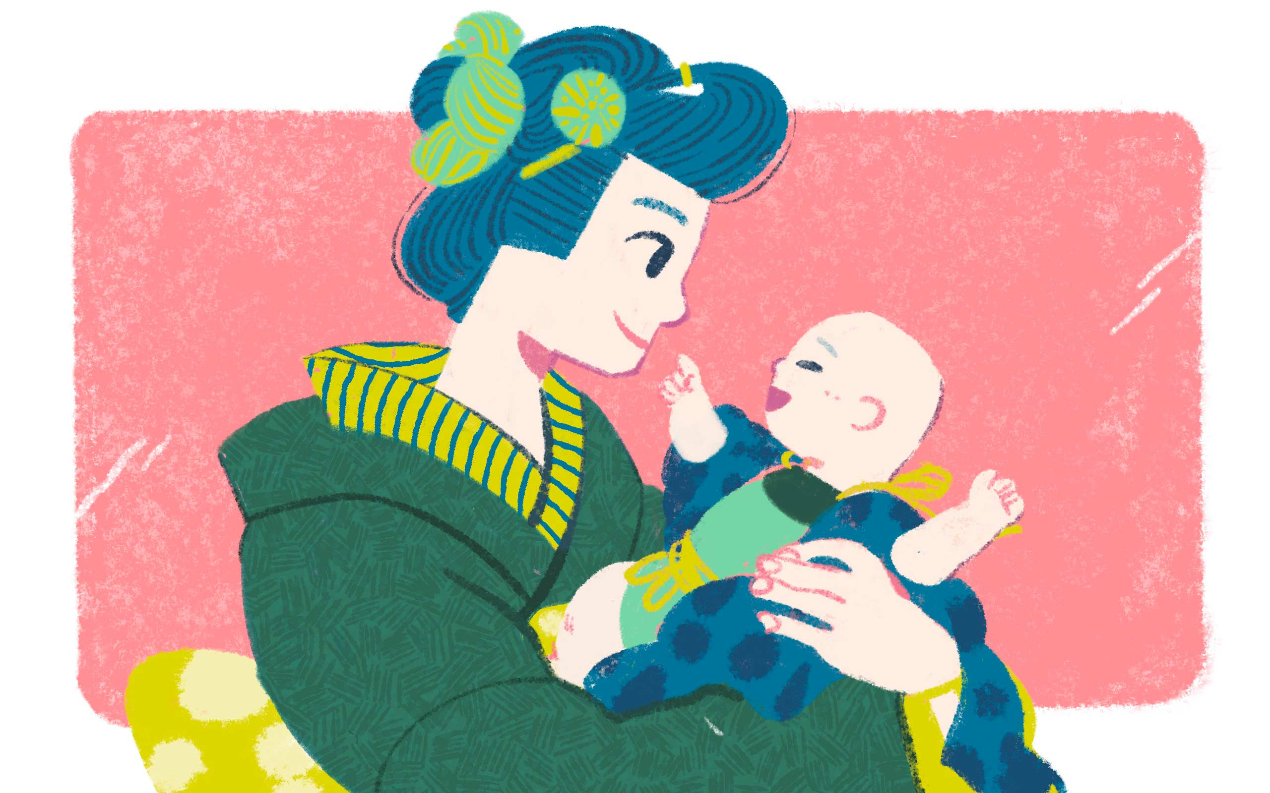 a mother in kimono holding a baby in her arms
