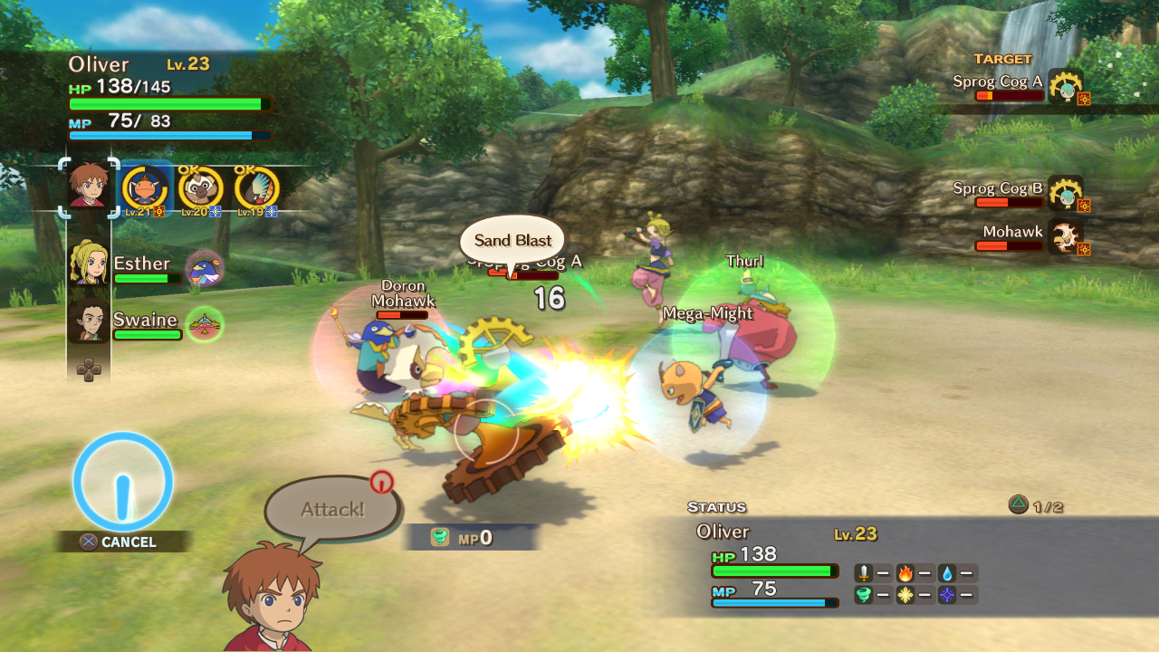 In-game screenshot of a battle in Ni-No Kuni