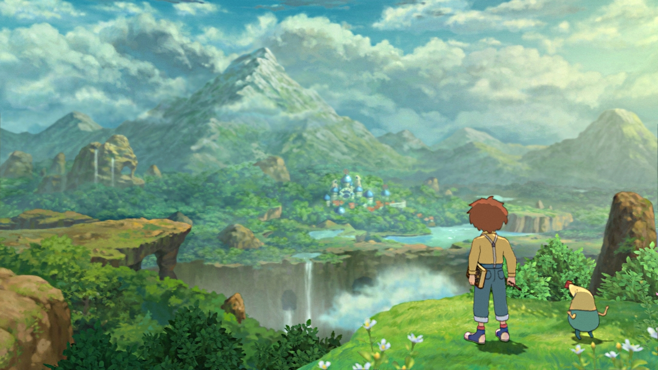 Oliver gazes at the beautiful landscape in Ni No Kuni