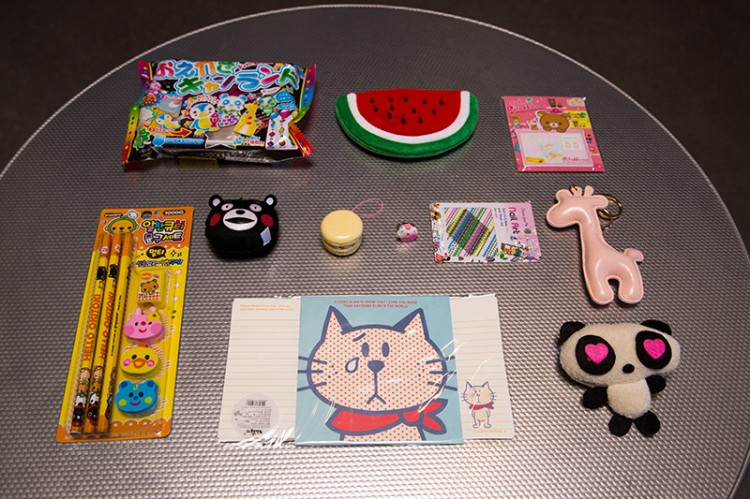 All of the items from the Kawaii Box package
