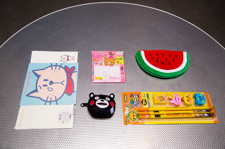 Coin purse, pencils, makeup kit and notes from Kawaii Box