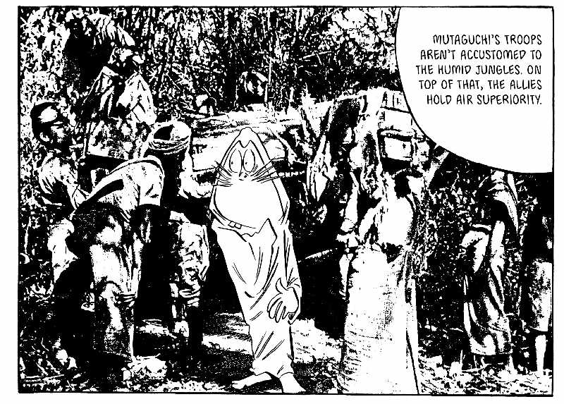 Comic panel of a mouse man standing amidst troops in the jungle.