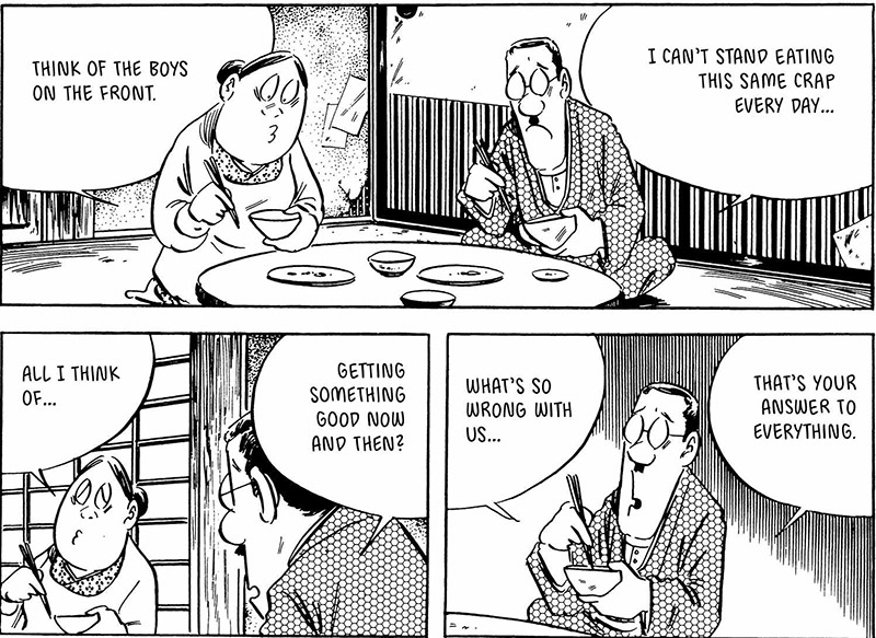 Comic pannel of a mother and father sitting at a dining table talking about the war and their lack of food