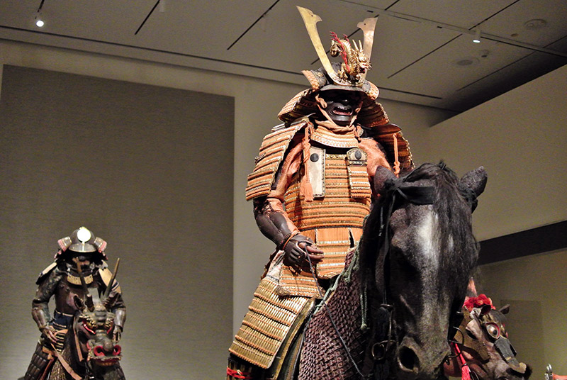 samurai armor on display in museum
