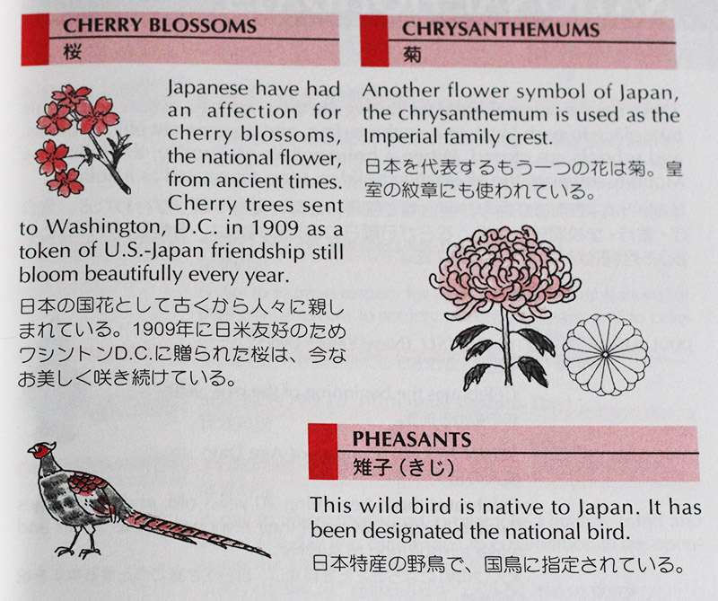 A page giving summaries on cherry blossoms, chrysanthemums and pheasants