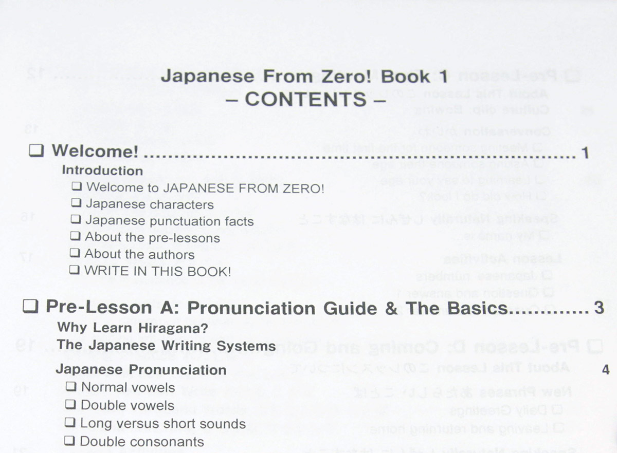 Table of contents for Japanese From Zero