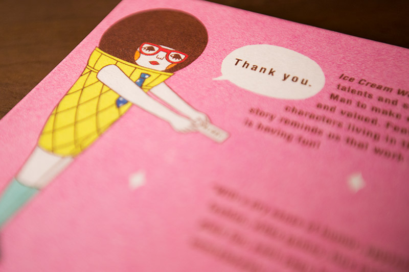 the back cover of ice cream work by naoshi