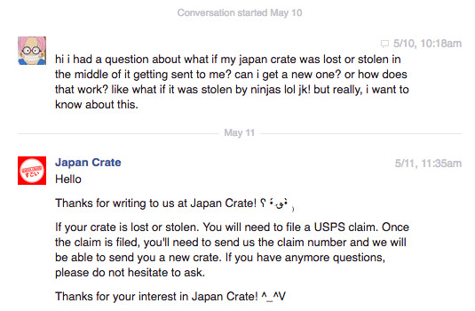 facebook message with japan crate