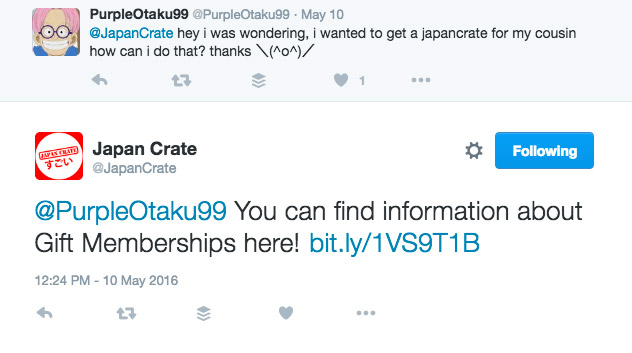 tweets to and from japan crate
