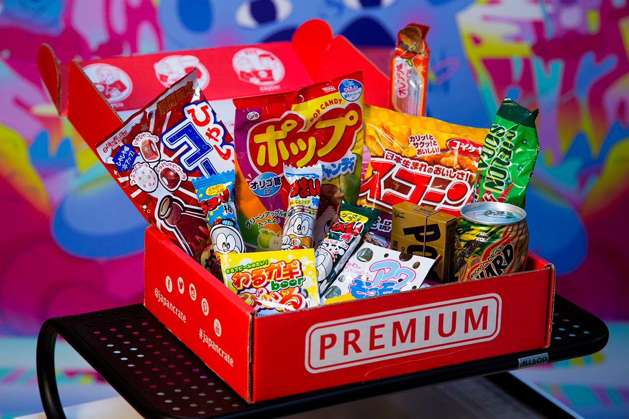 open box of Japanese candy