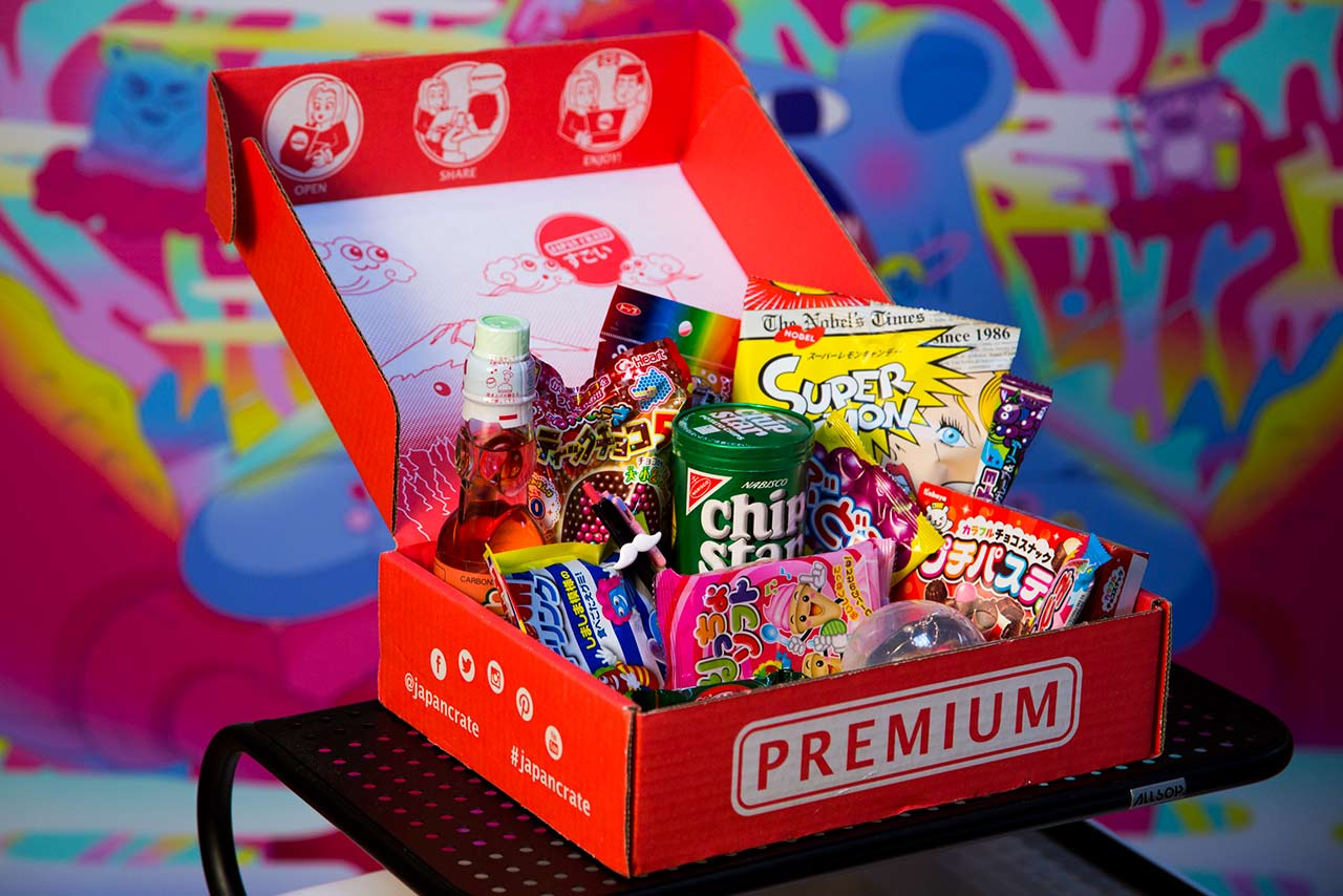 open japan crate displaying snacks