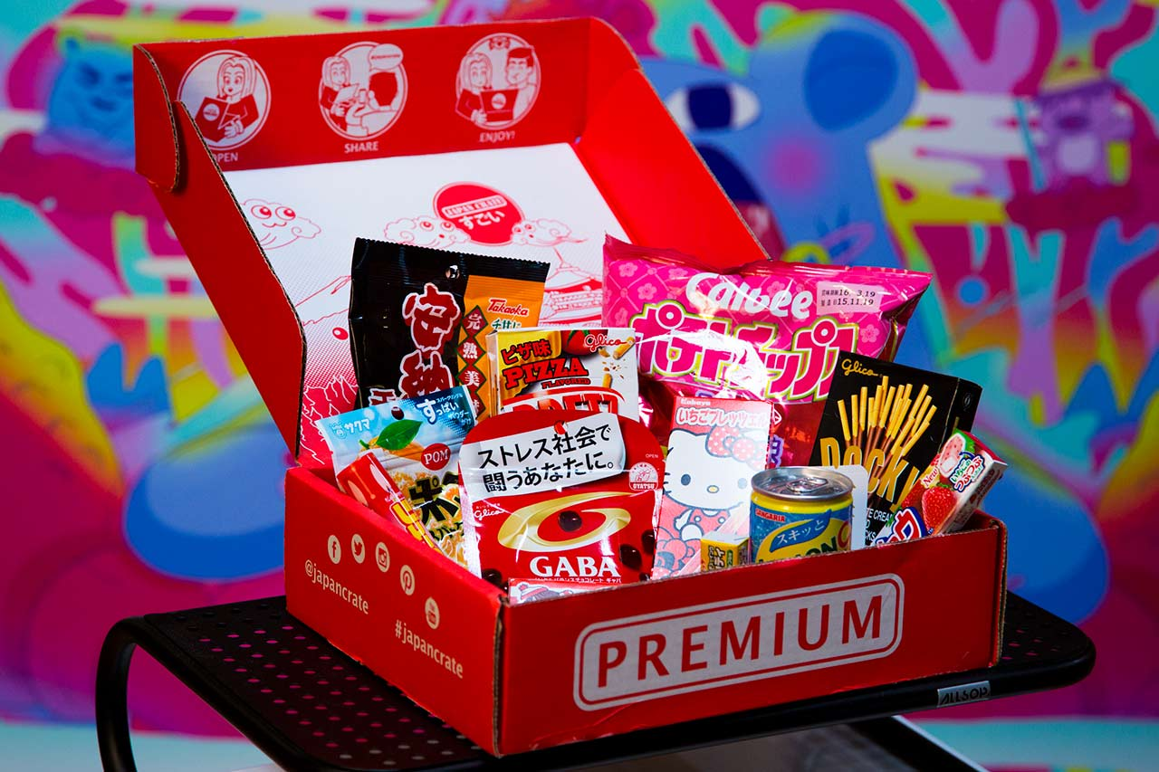 open crate of japanese candy