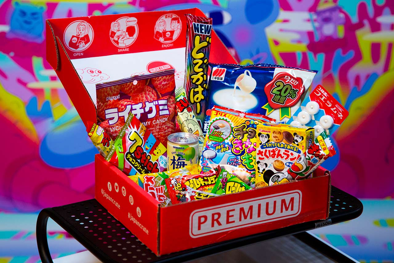open monthly box of japanese candy on display
