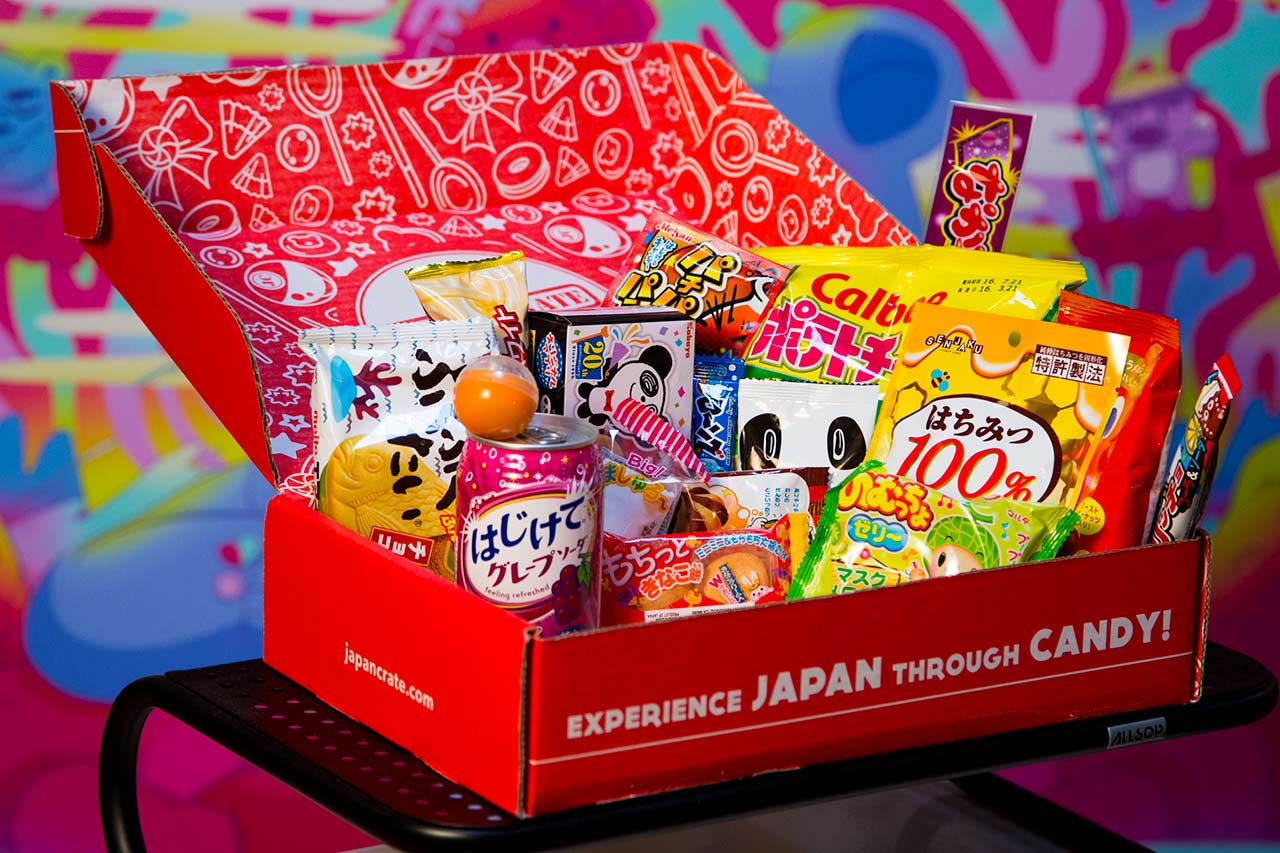 japan crate opened and showing candy