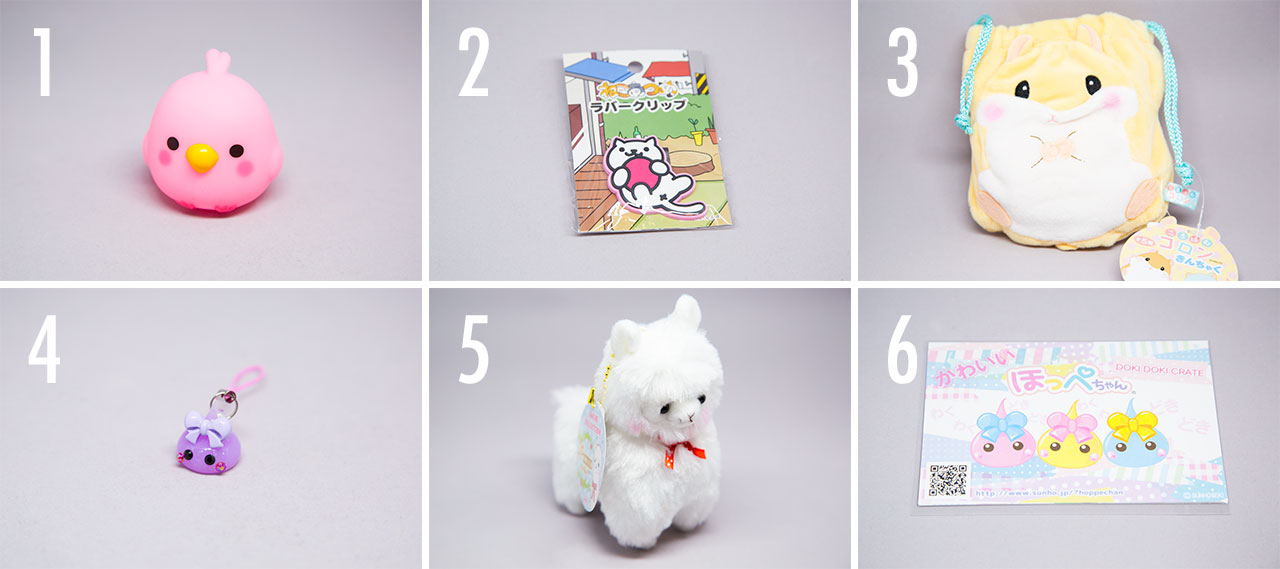 6 japanese toys in a grid from doki doki crate review