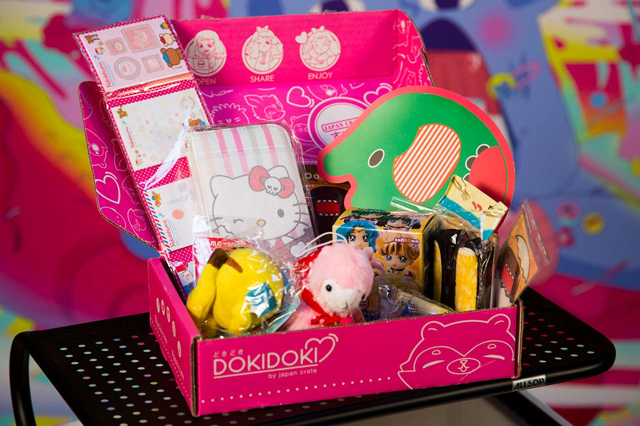 pink doki doki crate on display