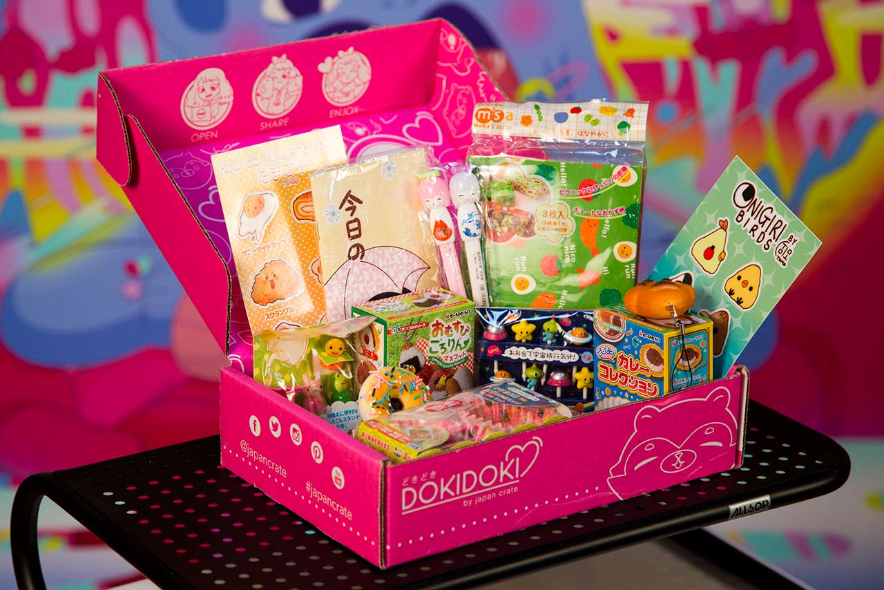 doki doki box filled with japanese stickers and toys