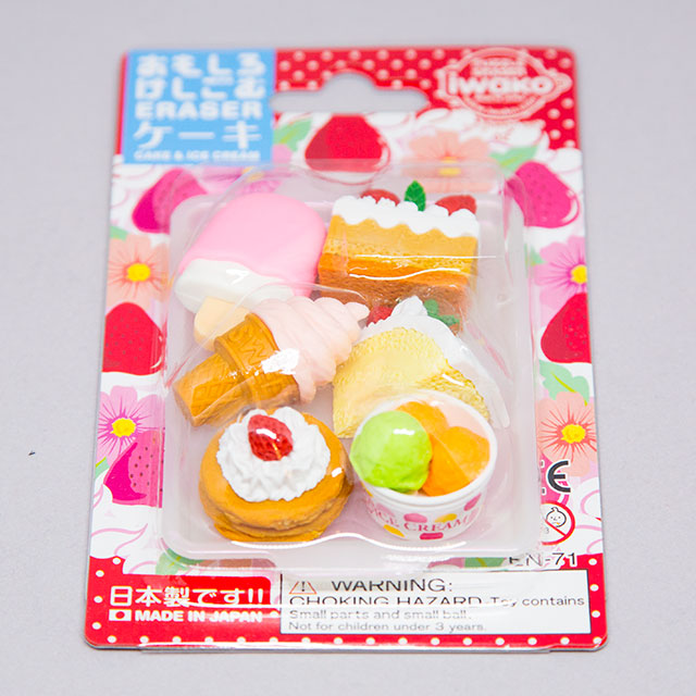 package of japanese erasers shaped like food