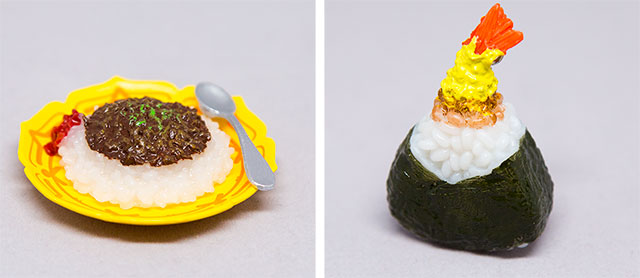 onigiri and curry toys from blind box