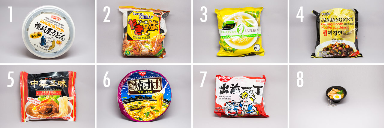 grid of instant noodles