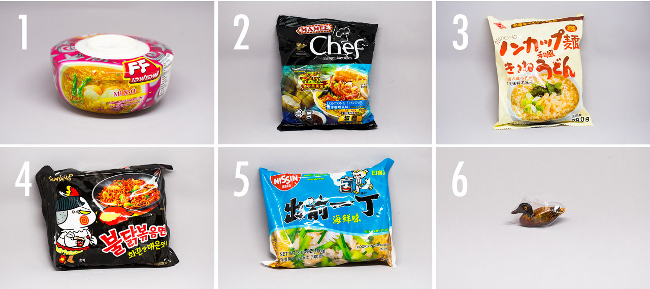 photo grid of instant noodle from umai crate