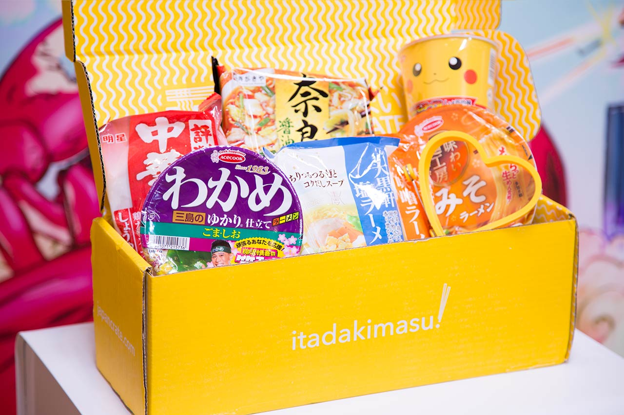 open umai crate filled with instant ramen