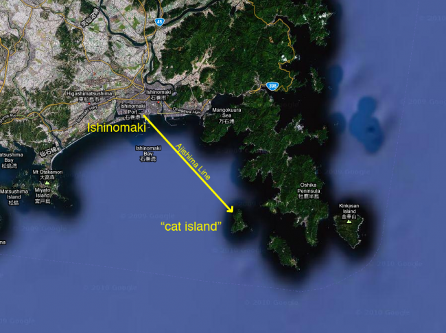 line on map from Ishinomaki to cat island