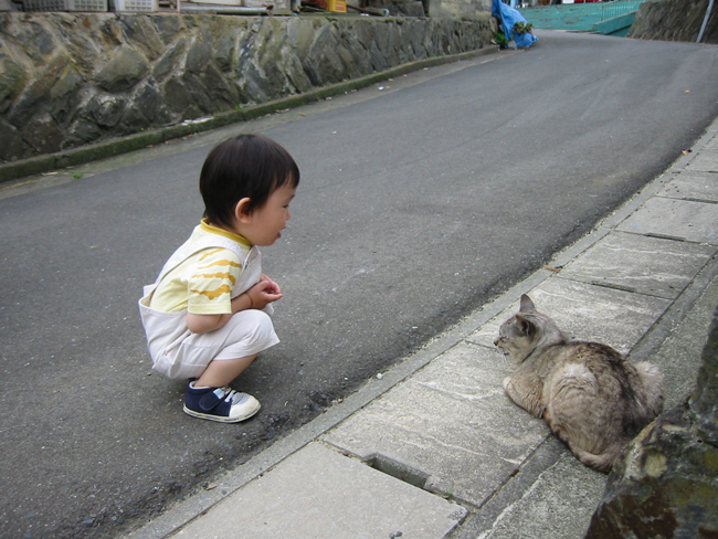 child crouching next to cat