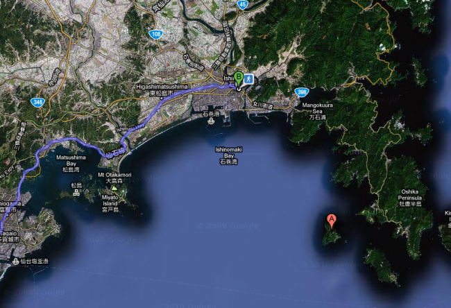 google map of tashirojima